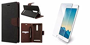 Generic mercury flip cover for samsung galaxy Note 2 brown with tempered combo