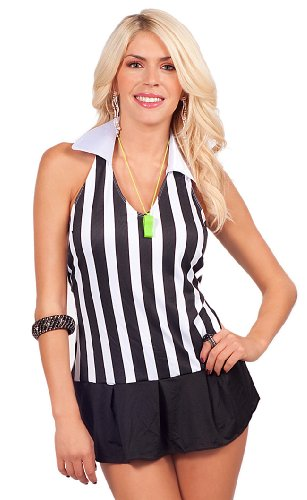 One Piece Halter V-neck Referee Flirt Outfit Pleated Skirt Halloween Costume