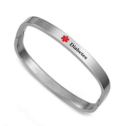 Diabetes Medical Alert Stainless Bangle Bracelet 6 Inch
