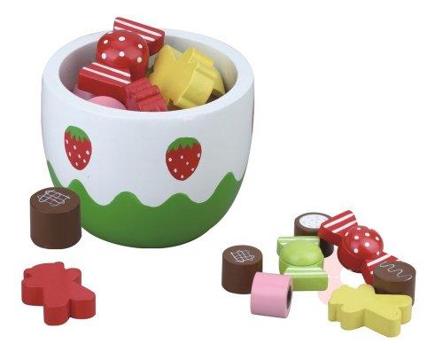 Schale mit Süßigkeiten aus Holz, Spielküche,