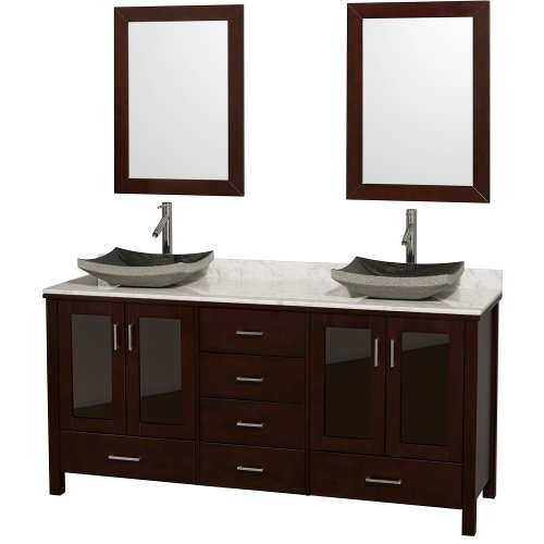 Lucy Double Bathroom Vanity In Espresso With White Carrera Marble Top With Black Granite Sink front-478420