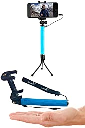 Zonabel Selfie Stick Mini - Best Monopod with Bluetooth Remote & Tripod - iPhone 6s, 6s Plus, 6, 5s & Androids - Blue
