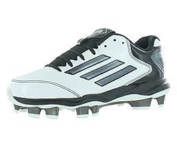 adidas Performance Women\'s PowerAlley 2 TPU W Softball Cleat, White/Carbon/Black, 7.5 M US