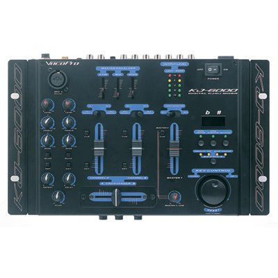 VocoPro KJ-6000 2 Channel, 4 Mic Input Mixer With Digital Key Control and Vocal Eliminator by VocoPro