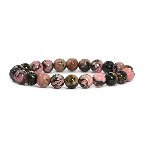 "amandastone Gem semi preziosa gemma, 8 mm perline braccialetto elastico con 7 ""Unisex, colore: Matrix Rhodonite, cod. AMANb00084-0124"