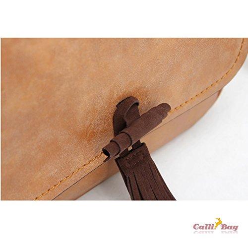 Callibag Fashion Design Womens Vintage Shoulder Messenger Crossbody Bag Suede Faux Leather Tassel