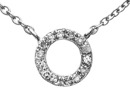 9ct White Gold Diamond Circular Necklet of 45cm