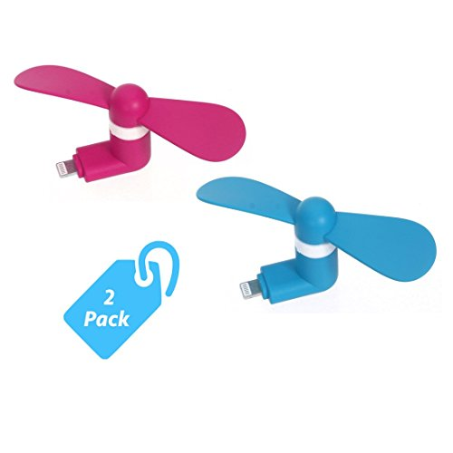 StyleTech Inc. Portable Cool Mini Rotating Fan for Apple Lighting Port Compatible with iPhone/iPods/iPad (2.) Pink + Blue)