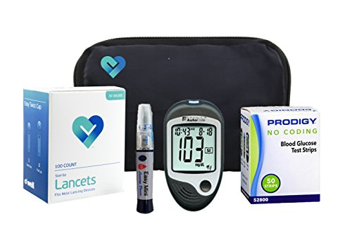 OWell Prodigy AutoCode Complete Diabetes Blood Glucose Testing Kit, TALKING METER, 50 Test Strips, 50 Lancets, Lancing Device, Manual, Log Book & Carry Case