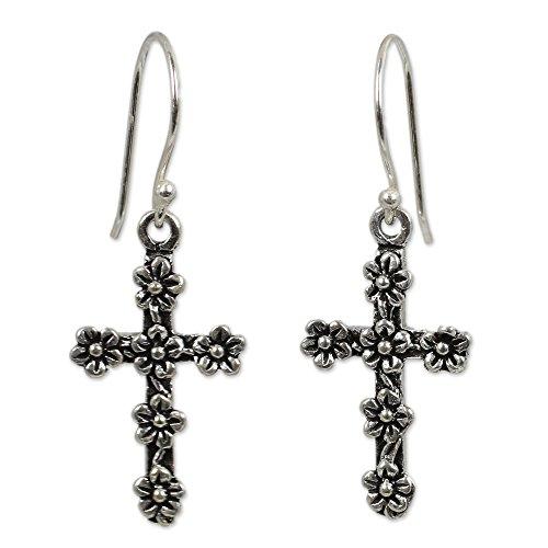 NOVICA .925 Sterling Silver Dangle Earrings 'Blooms and Crosses'