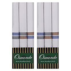 Osmonde Mens Cotton Essential Handkerchiefs Pack of 6