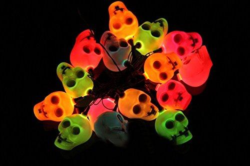 Ghastful Flashing Skull Skeleton Candle Flickering Lights with 220V Plug for kids Halloween Decoration--2.5 Meters