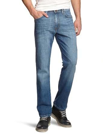 Wrangler - Jean - Coupe Droite - Homme - Bleu (worn broke 37X) - FR : W30/L34 (Taille fabricant : W30/L34)
