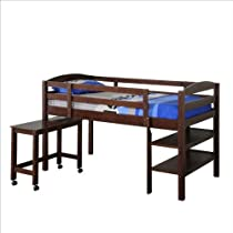 Hot Sale WE Furniture Twin Wood Loft Bed with Desk, Espresso