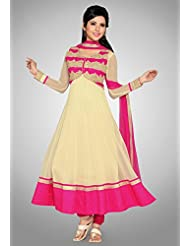 Utsav Fashion Women's Off White Net Readymade Anarkali Churidar Kameez-XX-Small