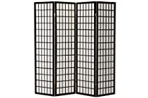 4 panel Shoji Screen Room Divider Black