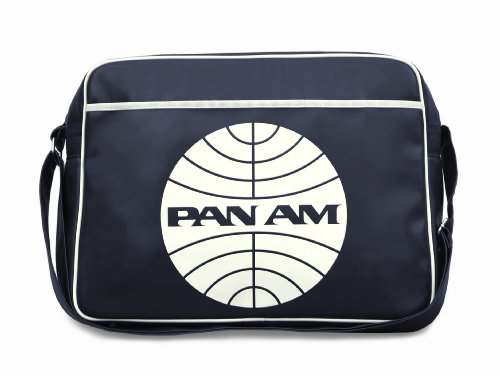 Pan Am Logo 1960s messenger flight bag made from faux leather with adjustable strap
