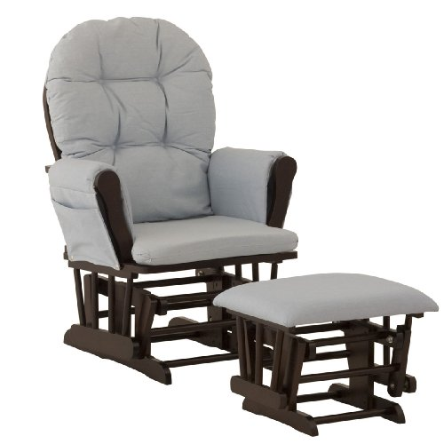 Sale!! Stork Craft Hoop Glider and Ottoman, Espresso/Light Denim