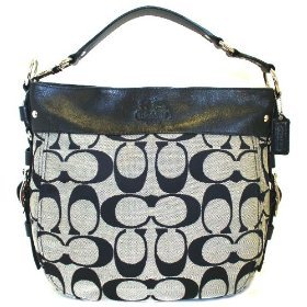 Coach Zoe Large Signature Shoulder Bag - 12674 (Black & White)