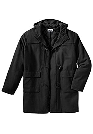 Kingsize Men's Big & Tall King Size Toggle Parka Coat, Black Tall-L