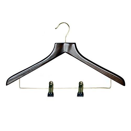 H & L Russel Cintre en forme de bois wb1904wam Combinaison avec bar Clip réglable