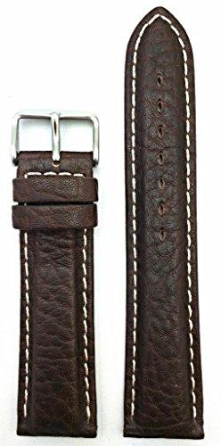 22Mm Dark Brown, White Stitches, Heavy Grain Leather Watch Band