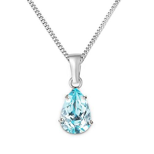 Miore Damen-Halskette Tropfen 375 Weißgold 1 Topas blau 45 cm MA9036N hier kaufen