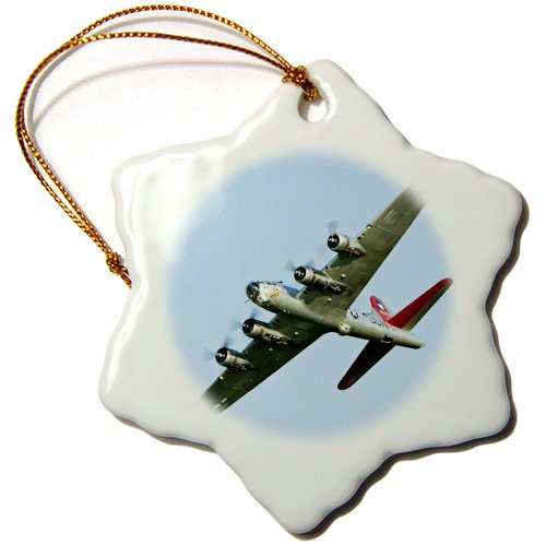 3dRose orn_97114_1 B-17G Flying Fortress Aluminum Overcoat, War Plane US50 BFR0034 Bernard Friel Snowflake Ornament, Porcelain, 3-Inch