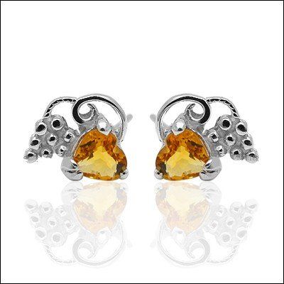 4*4mm Natural Gem luxury Citrine 925 Sterling Silver Earring stud Gift 013