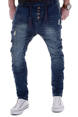 Urban Surface by Authentic Style Jogg Jeans Destroyed Look Drop Crotch Sweathose W29-W38 L32-L34 (W34/L32)