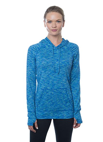 RBX Active Women's Long-Sleeve Space Dye Peached Jersey Hoodie, M, Green/Turquoise