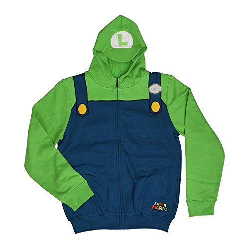 Luigi Costume Hoodie Super Mario Brothers Zip Up Hooded Sweatshirt Adult
