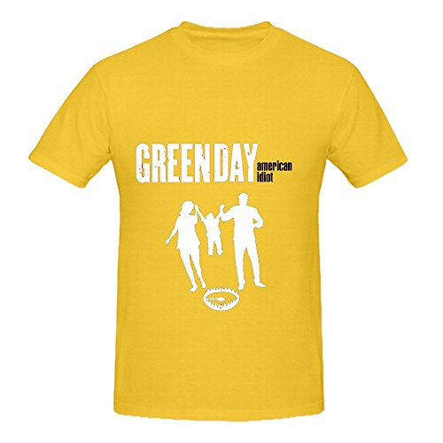 American Idiot Green Day Electronica Mens O Neck Custom Shirt Yellow (Restaurant Aro compare prices)