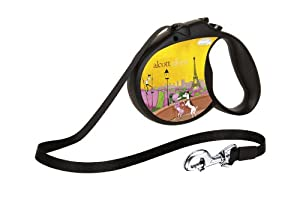 flexi Alcott Retractable Tape Dog Leash: Large, Black, Paris Design, 16-Feet Long, Supports up to 110-Pound