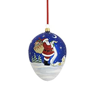 Reed & Barton Checking it Twice Egg Christmas Ornament, 4-1/2-Inch