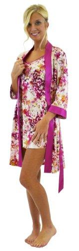 Silk Floral Kimono Robe & Matching Silk Slip Set - Pink