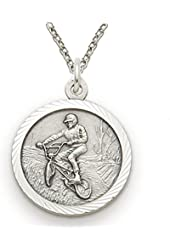 """.925 Sterling Silver Boy's Off Road Bike Medal St. Christopher on Back Boys Sports Patron Saint St. comes with a chain 20"""" chain Necklace in a deluxe velvet box"""