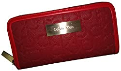 Calvin Klein Women's Signature Zip Around Wallet Red