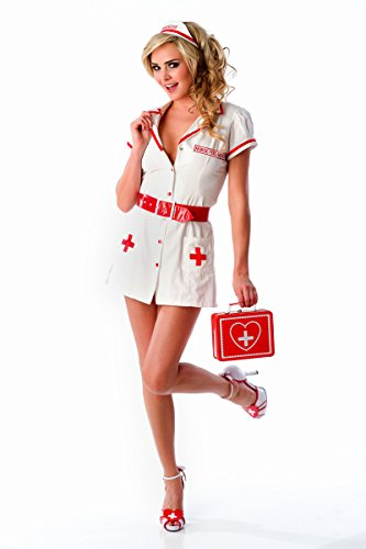Velvet Kitten Sexy Nurse Feel Good Naughty Lingerie Costume Set in White / Red