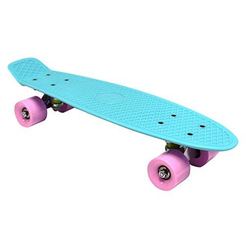 bentley-kids-mini-skateboard-cruiser-retro-plastique-bleu-aquatique-roues-roses-7-couleurs-au-choix-