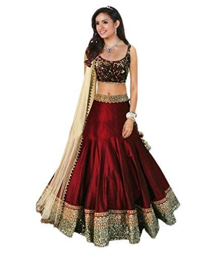 Jay-Varudi-Creation-Womens-Silk-Lehenga-MaroonFree-Size