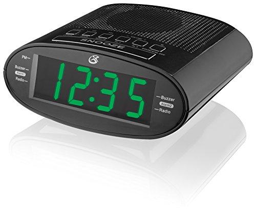 GPX C303B Dual Alarm Clock AM/FM Radio with Time Zone/Daylight Savings Control (Black)