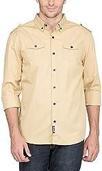 Suchos Men's Cotton Button Front Shirt (Beige, M)