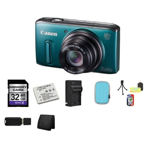 Canon PowerShot SX260 HS Digital Camera (Green) 32GB Package 3 Special Offers