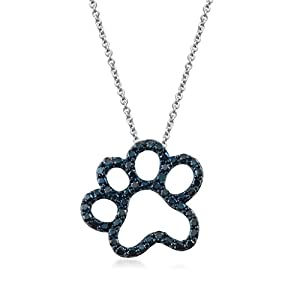 Jewelili 0.15 cttw Blue Diamond Paw Pendant in Sterling Silver