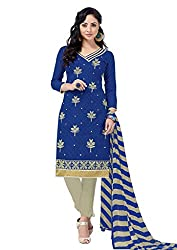 Craftliva Blue Embroidery Cotton Jacquard Dress Material