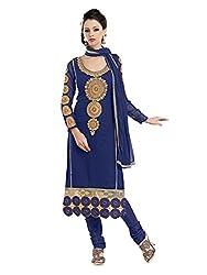 Metroz Women's Dark Blue Colored Georgette Designer Dress Material with Dupatta