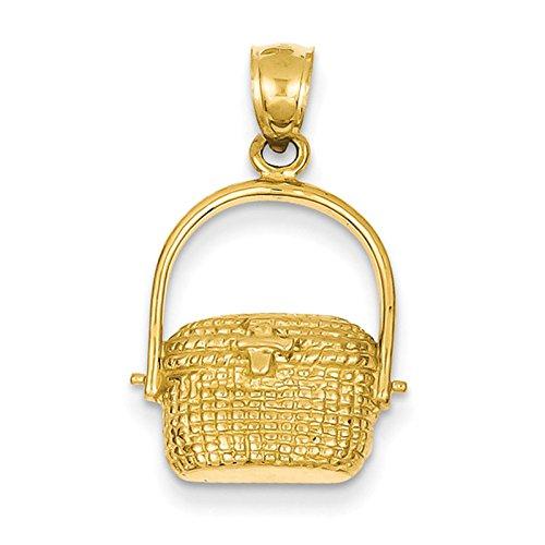 14K Yellow Gold Large Nantucket Basket Pendant. Metal Wt- 2.48G