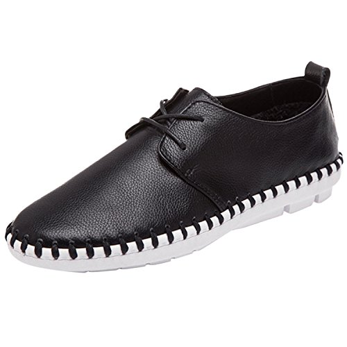 Oasap Femme Sneakers A Lacet Bout Rond Talons Plats PU