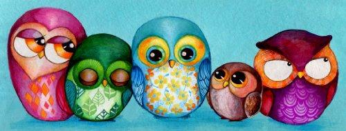 Artifact Puzzles - Annya Kai Fabric Owls Wooden Jigsaw Puzzle